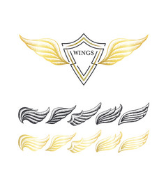 stippling wings set vector image vector image