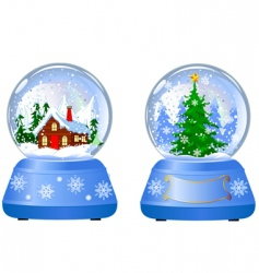Two christmas snow globes vector