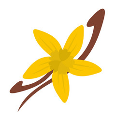 Vanilla pods and flower icon isolated vector