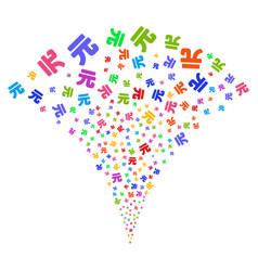 Yuan renminbi fountain stream vector