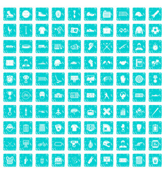 100 mens team icons set grunge blue vector image vector image