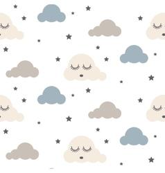 Sleepy clouds seamless pattern vector image