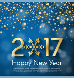 golden new year 2017 concept on blue blurry vector image