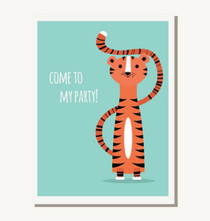Greeting card with cute tiger and text message vector