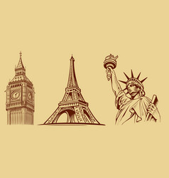 New york-paris-london-tourist symbols vector