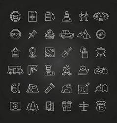 Tourism and travel brush line icons collection vector