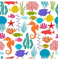Marine life seamless pattern with sea animals vector
