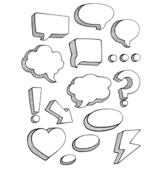 Speech bubbles sketch style set vector