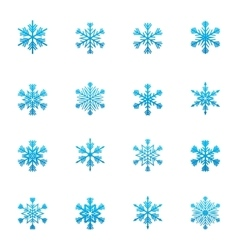 Set of blue snowflakes icon vector image