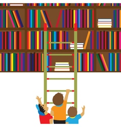 Children and books education flat concept vector