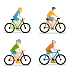 Cyclists riding bike set vector