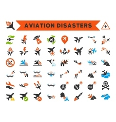 Aviation Disasters Icons vector image