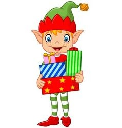 Happy green elf boy costume holding birthday gifts vector