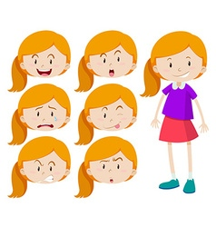 Girl with different expressions vector