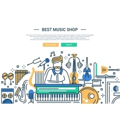 Best music shop - website header banner template vector