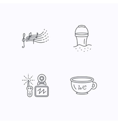Baby wc video monitoring and songs icons vector