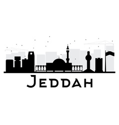 Jeddah city skyline black and white silhouette vector