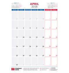 april 2018 calendar planner design template vector image vector image