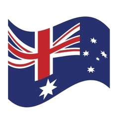 Australia flag waving emblem icon vector