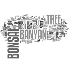 Banyan bonsai text word cloud concept vector