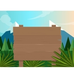 board sign wooden forest jungle background vector image