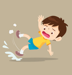 boy falling on wet floor vector image vector image