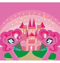 Card with a cute unicorns rainbow and fairy-tale vector