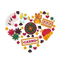casino gambling equipment set collected in heart vector image vector image