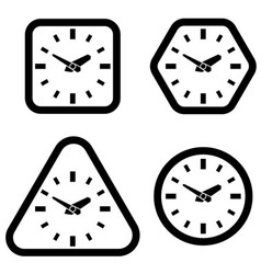 Clock Icon Square Hexagon Triangle and Circle vector image vector image