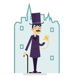 Clock Time Great Britain Victorian Gentleman vector image vector image