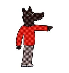 Comic cartoon wolf man pointing vector