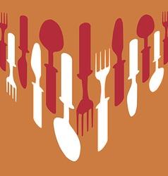 Cutlery background orange vector image vector image