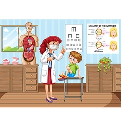 Doctor giving treatment to little boy in clinic vector image vector image