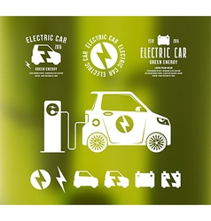 Electric car icons and labels vector