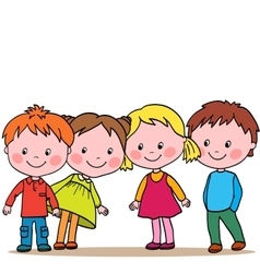 Group of four kids looking in one direction vector