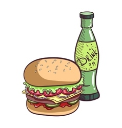 Hamburger And Drink vector image vector image