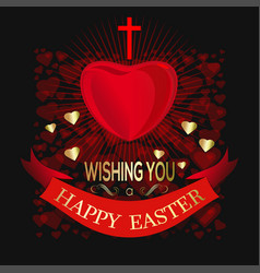 Happy easter greeting card for easter with cross vector