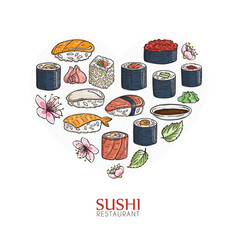 heart background with sushi and rolls japanese vector image