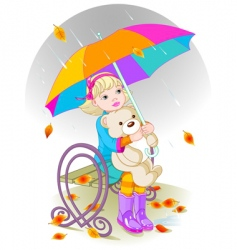 little girl and teddy bear vector image vector image