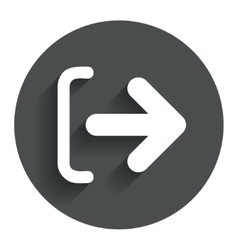 Logout sign icon Log out symbol Arrow vector image