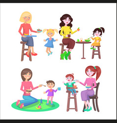 Mothes feeding naughty children set on white vector
