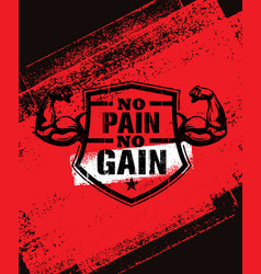 No pain no gain gym workout motivation quote vector