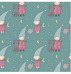 Seamless pattern with cute gnome and cat vector