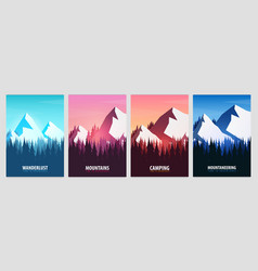 set of mountains posters nature landscape vector image