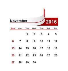 Simple calendar 2016 year november month vector