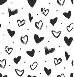 Simple seamless pattern with black hearts vector