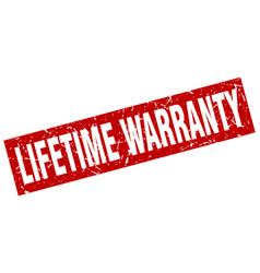 Square grunge red lifetime warranty stamp vector