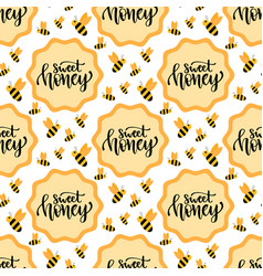 sweet honey seamless pattern packaging design vector image
