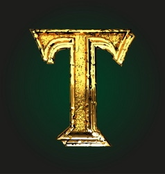 t golden letter vector image vector image