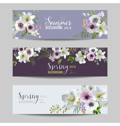 Lily and anemone flowers floral banners and tags vector